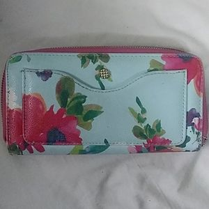 Light turquoise floral wallet